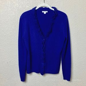 Garnet Hill Ruffle Sweater - 100% Cashmere - SM